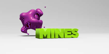 MINES - 3D rendered colorful headline illustration.  Can be used for an online banner ad or a print postcard.