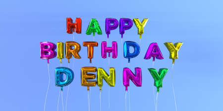 Happy Birthday Denny card with balloon text - 3D rendered stock image. This image can be used for a eCard or a print postcard. Stock Photo