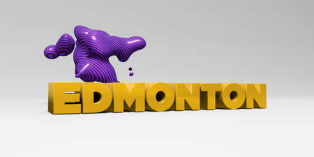 edmonton: EDMONTON - 3D rendered colorful headline illustration.  Can be used for an online banner ad or a print postcard.