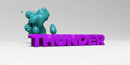 THUNDER - 3D rendered colorful headline illustration.  Can be used for an online banner ad or a print postcard.
