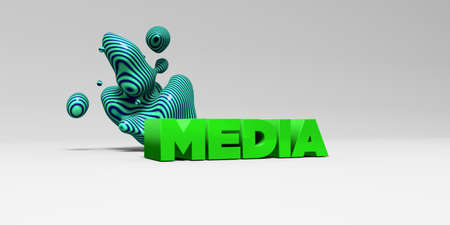 MEDIA - 3D rendered colorful headline illustration.  Can be used for an online banner ad or a print postcard. Stock Photo