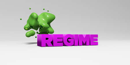REGIME - 3D rendered colorful headline illustration.  Can be used for an online banner ad or a print postcard.