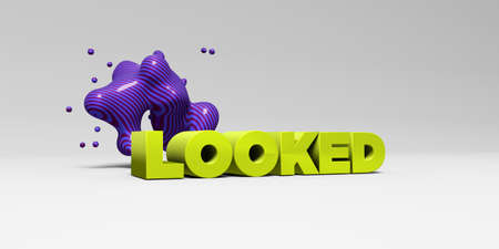 banner ad: LOOKED - 3D rendered colorful headline illustration.  Can be used for an online banner ad or a print postcard. Stock Photo