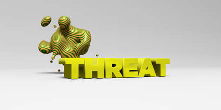 threat: THREAT - 3D rendered colorful headline illustration.  Can be used for an online banner ad or a print postcard.
