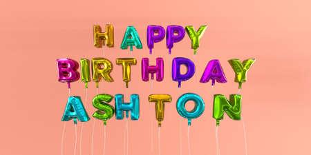 ecard: Happy Birthday Ashton card with balloon text - 3D rendered stock image. This image can be used for a eCard or a print postcard.