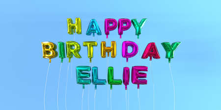 Zadowolony urodziny Ellie karty z tekstem balonu - 3D wytopiony obraz. Ten obraz może być użyty do eCard lub pocztówki drukowanej. Zdjęcie Seryjne