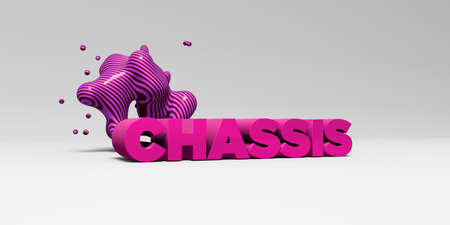 chassis: CHASSIS - 3D rendered colorful headline illustration.  Can be used for an online banner ad or a print postcard. Stock Photo