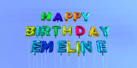 ecard: Happy Birthday Emeline card with balloon text - 3D rendered stock image. This image can be used for a eCard or a print postcard.
