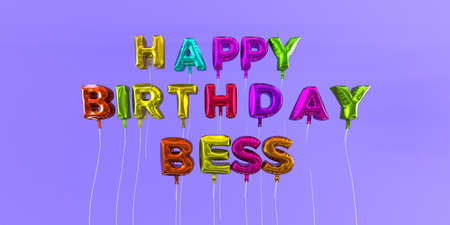 Happy Birthday Bess card with balloon text - 3D rendered stock image. This image can be used for a eCard or a print postcard.