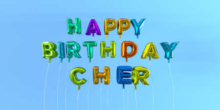 Happy Birthday Cher card with balloon text - 3D rendered stock image. This image can be used for a eCard or a print postcard.