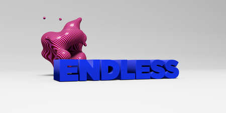 banner ad: ENDLESS - 3D rendered colorful headline illustration.  Can be used for an online banner ad or a print postcard. Stock Photo