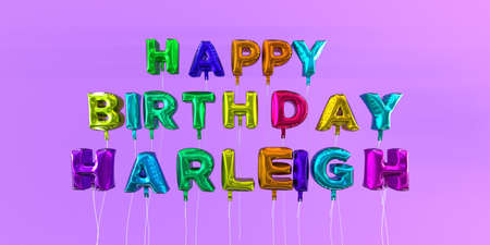 Happy Birthday Harleigh card with balloon text - 3D rendered stock image. This image can be used for a eCard or a print postcard. Stock Photo