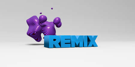 remix: REMIX - 3D rendered colorful headline illustration.  Can be used for an online banner ad or a print postcard. Stock Photo