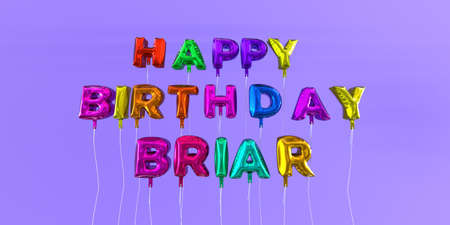Happy Birthday Briar card with balloon text - 3D rendered stock image. This image can be used for a eCard or a print postcard. Stock Photo