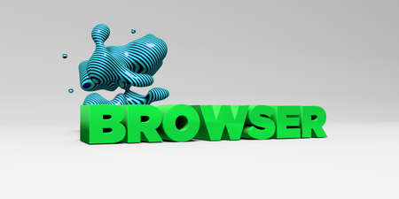 banner ad: BROWSER - 3D rendered colorful headline illustration.  Can be used for an online banner ad or a print postcard.