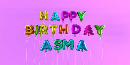 Feliz Cumpleaños Asma tarjeta con globo de texto - 3D prestados stock photo. Esta imagen se puede utilizar para una tarjeta electrónica o una postal de impresión. Foto de archivo