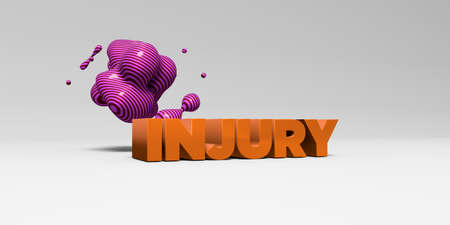 sentence typescript: INJURY - 3D rendered colorful headline illustration.  Can be used for an online banner ad or a print postcard.