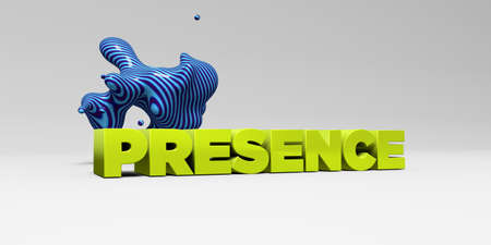 presence: PRESENCE - 3D rendered colorful headline illustration.  Can be used for an online banner ad or a print postcard.