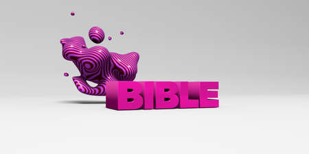 single word: BIBLE - 3D rendered colorful headline illustration.  Can be used for an online banner ad or a print postcard. Stock Photo
