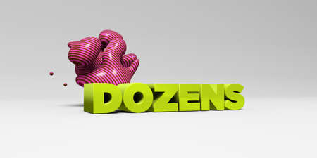 dozens: DOZENS - 3D rendered colorful headline illustration.  Can be used for an online banner ad or a print postcard. Stock Photo