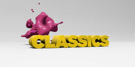 CLASSICS - 3D rendered colorful headline illustration.  Can be used for an online banner ad or a print postcard.