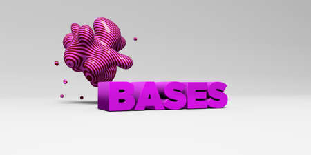 bases: BASES - 3D rendered colorful headline illustration.  Can be used for an online banner ad or a print postcard.