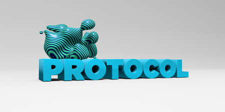 protocol: PROTOCOL - 3D rendered colorful headline illustration.  Can be used for an online banner ad or a print postcard.