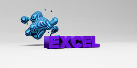EXCEL - 3D rendered colorful headline illustration.  Can be used for an online banner ad or a print postcard. Stock Photo
