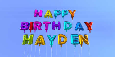 Happy Birthday Hayden card with balloon text - 3D rendered stock image. This image can be used for a eCard or a print postcard.