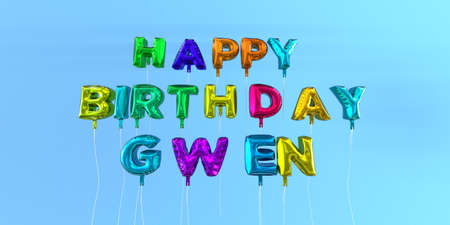 ecard: Happy Birthday Gwen card with balloon text - 3D rendered stock image. This image can be used for a eCard or a print postcard.