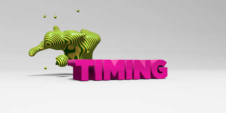 sentence typescript: TIMING - 3D rendered colorful headline illustration.  Can be used for an online banner ad or a print postcard.