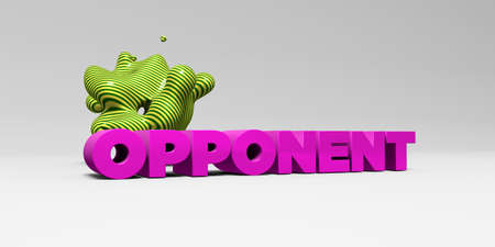 OPPONENT - 3D rendered colorful headline illustration.  Can be used for an online banner ad or a print postcard.