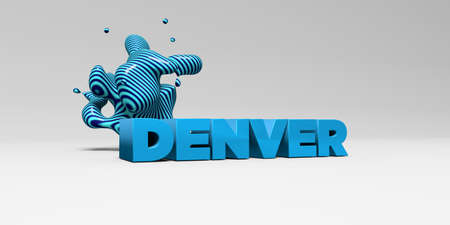 sentence typescript: DENVER - 3D rendered colorful headline illustration.  Can be used for an online banner ad or a print postcard.