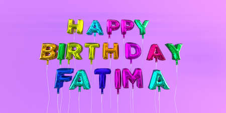 ecard: Happy Birthday Fatima card with balloon text - 3D rendered stock image. This image can be used for a eCard or a print postcard.