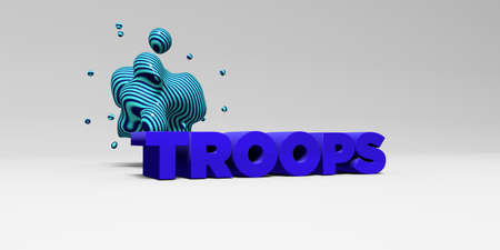 troops: TROOPS - 3D rendered colorful headline illustration.  Can be used for an online banner ad or a print postcard.