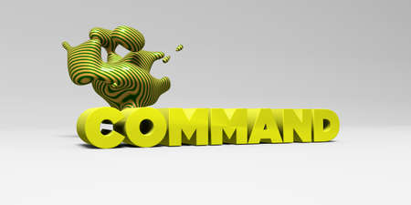 command: COMMAND - 3D rendered colorful headline illustration.  Can be used for an online banner ad or a print postcard. Stock Photo