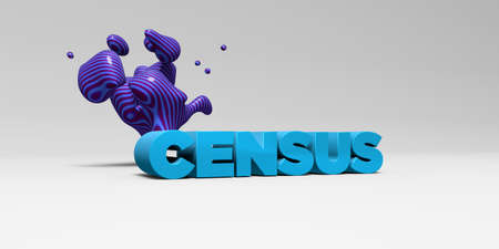 census: CENSUS - 3D rendered colorful headline illustration.  Can be used for an online banner ad or a print postcard. Stock Photo