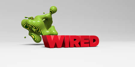 WIRED - 3D rendered colorful headline illustration.  Can be used for an online banner ad or a print postcard. Stock Photo