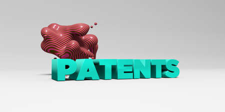 patents: PATENTS - 3D rendered colorful headline illustration.  Can be used for an online banner ad or a print postcard. Stock Photo