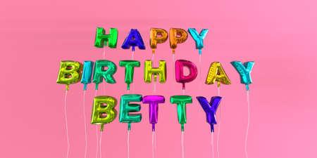 행복 한 생일 풍선 텍스트 -3D 렌더링 된 재고 이미지와 베티 카드. 이 이미지는 eCard 또는 인쇄 엽서에 사용할 수 있습니다.