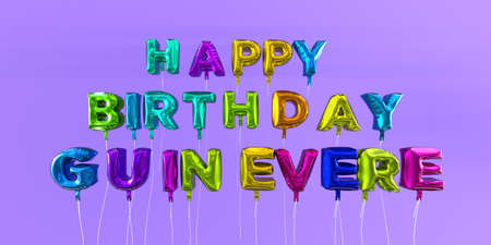 Happy Birthday Guinevere card with balloon text - 3D rendered stock image. This image can be used for a eCard or a print postcard. Imagens