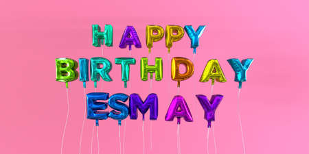 Happy Birthday Esmay card with balloon text - 3D rendered stock image. This image can be used for a eCard or a print postcard.