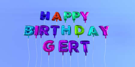 ecard: Happy Birthday Gert card with balloon text - 3D rendered stock image. This image can be used for a eCard or a print postcard.