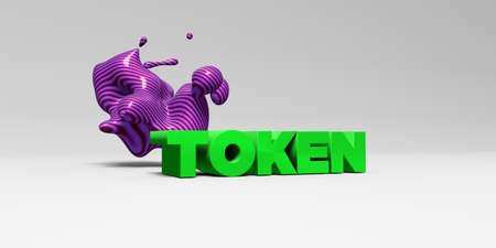 token: TOKEN - 3D rendered colorful headline illustration.  Can be used for an online banner ad or a print postcard.