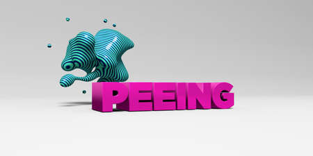 PEEING - 3D rendered colorful headline illustration.  Can be used for an online banner ad or a print postcard.