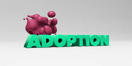 adoption: ADOPTION - 3D rendered colorful headline illustration.  Can be used for an online banner ad or a print postcard.
