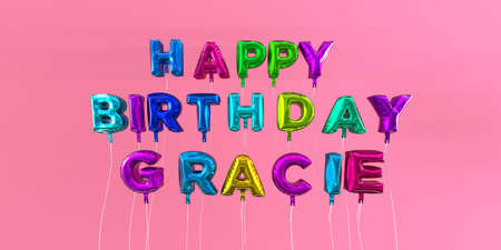 Happy Birthday Gracie card with balloon text - 3D rendered stock image. This image can be used for a eCard or a print postcard. Stock Photo