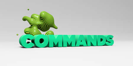 COMMANDS - 3D rendered colorful headline illustration.  Can be used for an online banner ad or a print postcard. Stock Photo