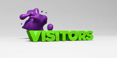 visitors: VISITORS - 3D rendered colorful headline illustration.  Can be used for an online banner ad or a print postcard.