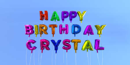 Happy Birthday Crystal card with balloon text - 3D rendered stock image. This image can be used for a eCard or a print postcard. Stock Photo - 66359909